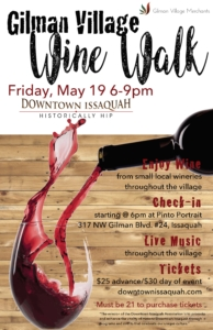 Gilman Village Wine Walk 5/19 @ Gilman Village | Issaquah | Washington | United States